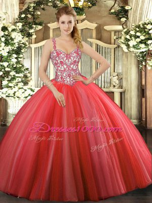 New Arrival Straps Sleeveless Lace Up Vestidos de Quinceanera Coral Red Tulle