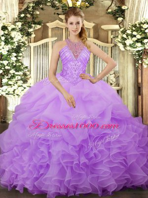 Halter Top Sleeveless Organza Sweet 16 Dress Beading and Ruffles and Pick Ups Lace Up