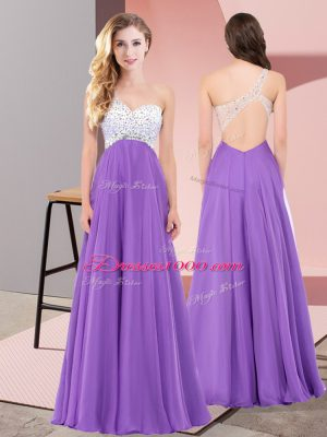 Charming Eggplant Purple Sleeveless Chiffon Lace Up Prom Evening Gown for Prom and Party