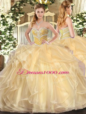 Noble Organza Sweetheart Long Sleeves Lace Up Beading and Ruffles Quinceanera Gown in Champagne