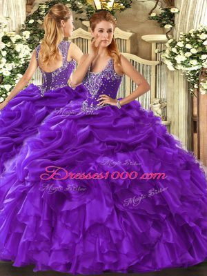 Fashionable Straps Sleeveless Vestidos de Quinceanera Floor Length Beading and Ruffles and Pick Ups Purple Organza