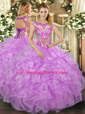 Lovely Lilac Cap Sleeves Organza Lace Up Quinceanera Dresses for Sweet 16 and Quinceanera