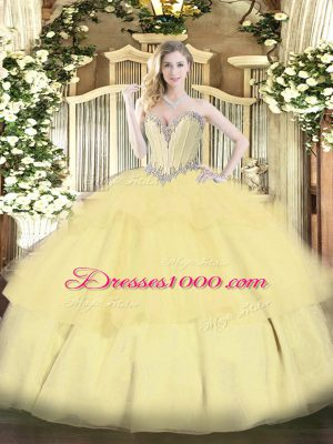 New Arrival Beading and Ruffled Layers Quince Ball Gowns Gold Lace Up Sleeveless Floor Length