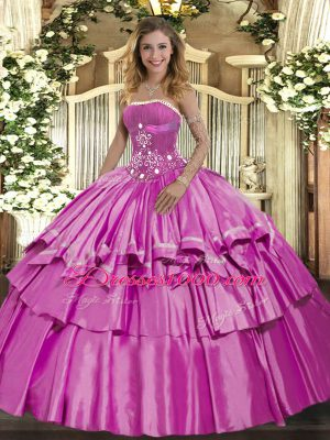 Fantastic Sleeveless Organza and Taffeta Floor Length Lace Up Quinceanera Dresses in Lilac with Beading and Ruffled Layers