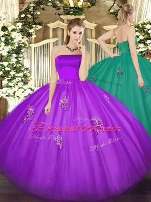 Eggplant Purple Ball Gown Prom Dress Military Ball and Sweet 16 and Quinceanera with Appliques Strapless Sleeveless Zipper