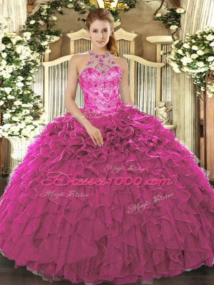 Fitting Fuchsia Halter Top Neckline Beading and Ruffles Quinceanera Dress Sleeveless Lace Up