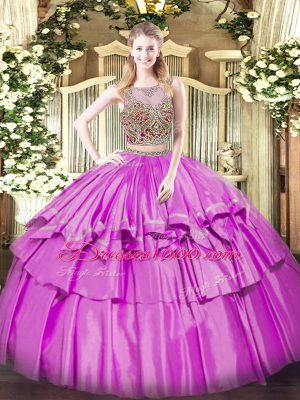 Lilac Organza and Taffeta Lace Up Scoop Sleeveless Floor Length Quinceanera Dress Beading and Ruffled Layers