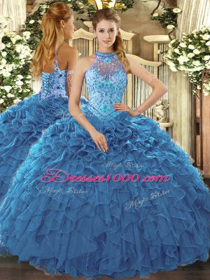 Extravagant Ball Gowns Vestidos de Quinceanera Teal Halter Top Organza Sleeveless Floor Length Lace Up