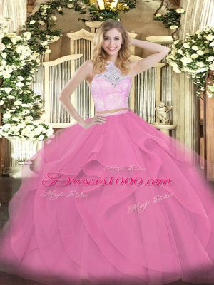 Lovely Rose Pink Sleeveless Floor Length Lace and Ruffles Zipper Quinceanera Gown
