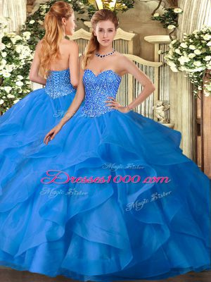 Customized Sleeveless Floor Length Appliques and Ruffles Lace Up Quince Ball Gowns with Blue
