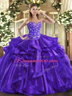 Sweetheart Sleeveless Ball Gown Prom Dress Floor Length Embroidery and Ruffles Purple Organza