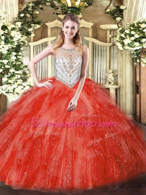 Coral Red Scoop Neckline Beading and Ruffles Quince Ball Gowns Sleeveless Zipper