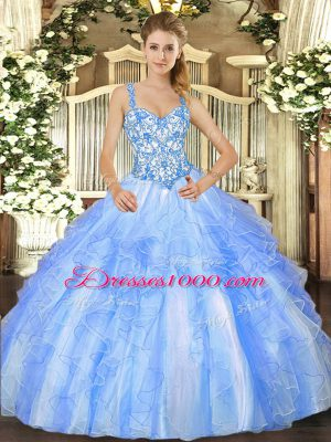 Eye-catching Beading and Ruffles Quinceanera Dresses Blue And White Lace Up Sleeveless Floor Length