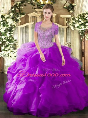 Floor Length Ball Gowns Sleeveless Fuchsia Vestidos de Quinceanera Clasp Handle