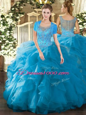 Custom Made Teal Sleeveless Beading and Ruffled Layers Floor Length Quince Ball Gowns