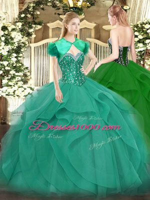 High End Sleeveless Floor Length Beading and Ruffles Lace Up Quince Ball Gowns with Turquoise