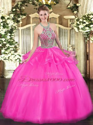 Lovely Hot Pink Ball Gowns Tulle Halter Top Sleeveless Beading and Ruffles Floor Length Lace Up Quinceanera Gowns