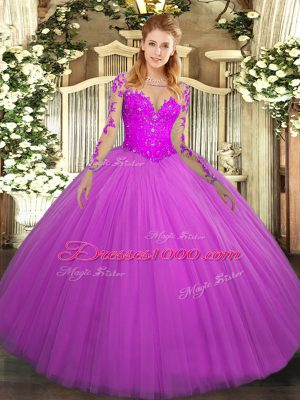 Fuchsia Long Sleeves Floor Length Lace Lace Up Quinceanera Gown