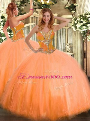 Sweetheart Sleeveless Lace Up Sweet 16 Dresses Orange Tulle
