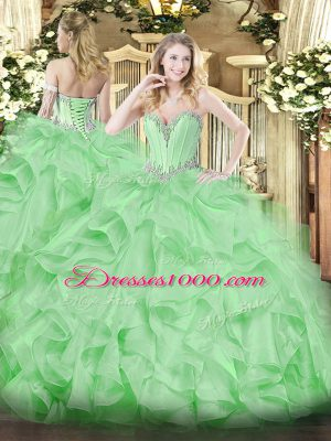 Apple Green Sweetheart Lace Up Beading and Ruffles Vestidos de Quinceanera Sleeveless