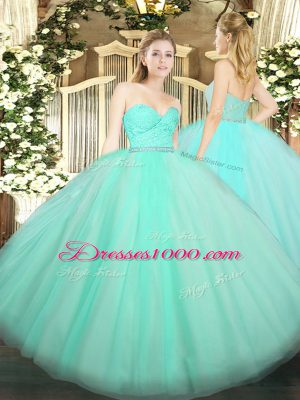 Apple Green Tulle Zipper 15th Birthday Dress Sleeveless Floor Length Beading and Lace