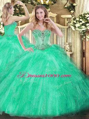 Decent Apple Green Sweetheart Lace Up Beading and Ruffles Ball Gown Prom Dress Sleeveless