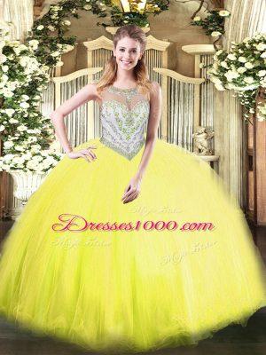 Fantastic Yellow Green Scoop Neckline Beading Quinceanera Dresses Sleeveless Zipper