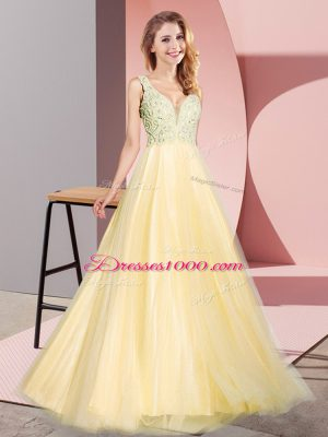 Admirable Gold Zipper Prom Party Dress Lace Sleeveless Floor Length