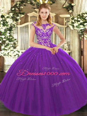 Fantastic Eggplant Purple Scoop Neckline Beading and Appliques Quinceanera Dresses Sleeveless Lace Up