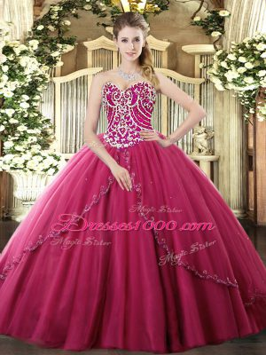 Flare Hot Pink Sleeveless Beading Lace Up 15 Quinceanera Dress