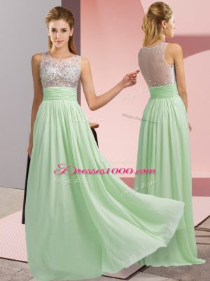 Glittering Sleeveless Side Zipper Floor Length Beading Custom Made