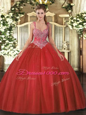 Floor Length Coral Red Vestidos de Quinceanera Tulle Sleeveless Beading