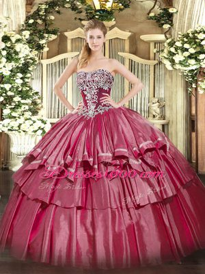 Floor Length Hot Pink 15 Quinceanera Dress Strapless Sleeveless Lace Up