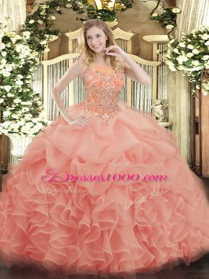 New Style Baby Pink Ball Gowns Beading and Ruffles Vestidos de Quinceanera Zipper Organza Sleeveless Floor Length