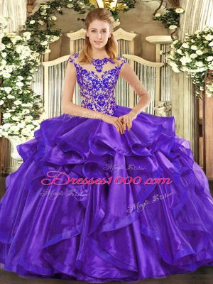 Popular Beading and Ruffles Quinceanera Gowns Purple Lace Up Cap Sleeves Floor Length