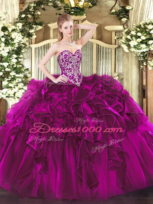 Dramatic Fuchsia Sleeveless Floor Length Beading and Ruffles Lace Up Sweet 16 Dresses