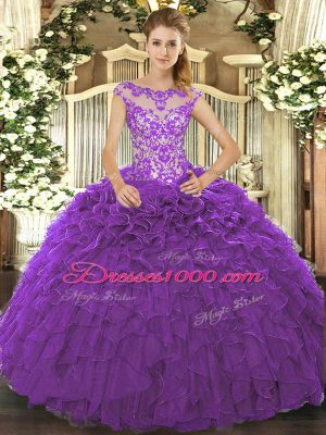 Fashion Purple Lace Up Scoop Beading and Ruffles and Hand Made Flower Quinceanera Gowns Organza Cap Sleeves