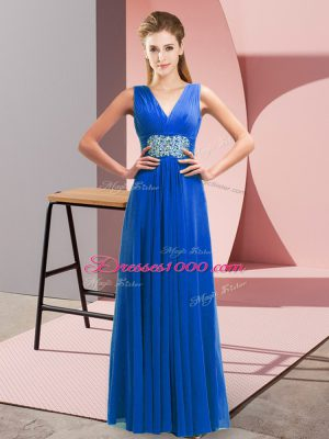 Shining Floor Length Lace Up Party Dress Wholesale Blue for Prom and Party with Beading and Ruching