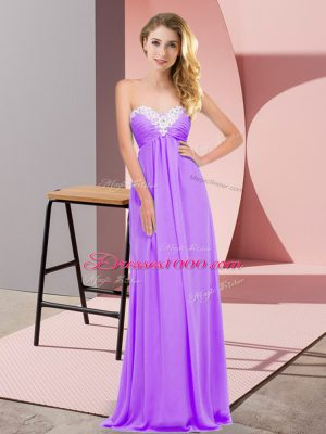 Latest Lavender Empire Chiffon Sweetheart Sleeveless Ruching Floor Length Lace Up Prom Dress