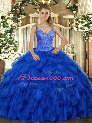 New Style Royal Blue Sleeveless Organza Lace Up Quinceanera Gown for Military Ball and Sweet 16 and Quinceanera