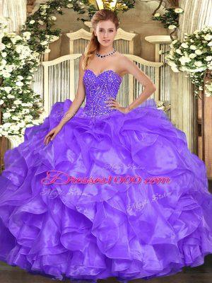 Modest Lavender Sweetheart Neckline Beading and Ruffles Sweet 16 Dress Sleeveless Lace Up