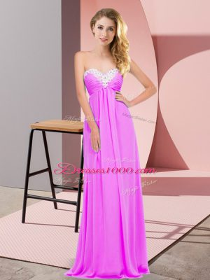 Sweetheart Sleeveless Chiffon Party Dress Ruching Lace Up