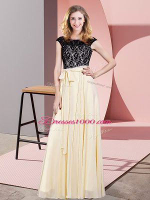 Champagne Empire Chiffon Scoop Sleeveless Lace and Belt Floor Length Lace Up Dress for Prom
