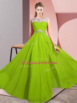 Vintage Beading Evening Dress Clasp Handle Sleeveless Floor Length
