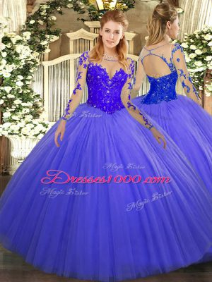 Blue Long Sleeves Floor Length Lace Lace Up Quinceanera Gowns