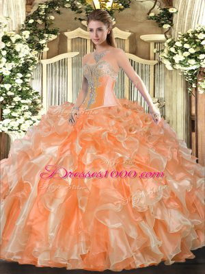 Great Orange Lace Up Sweetheart Beading and Ruffles Vestidos de Quinceanera Organza Sleeveless