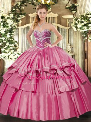 Beautiful Hot Pink Sleeveless Beading and Ruffled Layers Floor Length 15th Birthday Dress