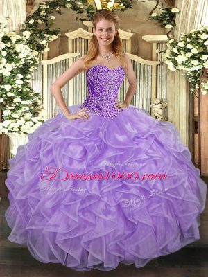 Spectacular Lavender Tulle Lace Up Sweet 16 Quinceanera Dress Sleeveless Asymmetrical Beading and Ruffles