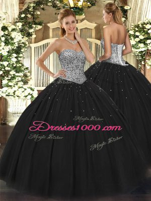 Customized Black Sweetheart Lace Up Beading Sweet 16 Quinceanera Dress Sleeveless