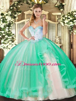 On Sale Floor Length Turquoise Quinceanera Dresses Tulle Sleeveless Beading and Ruffles
